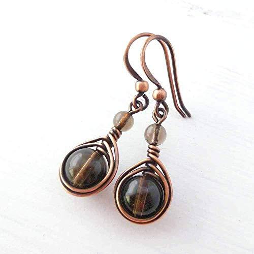 Copper Wire Wrapped Earrings with Smoky Quartz Gemstone (Smoky Quartz Gem Ring)