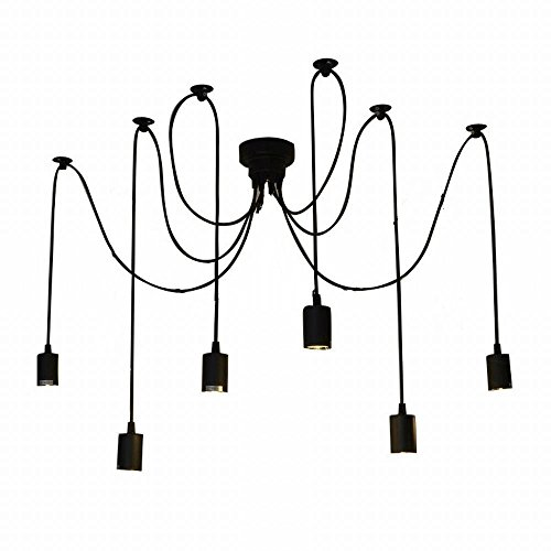 Lightess Vintage Multiple Adjustable DIY Ceiling Spider Pendant Lighting Chandelier (6 Heads)