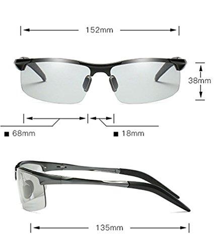 con negro UV de Gafas Marco inteligente Sol Hombres Inteligente Lente polarizadas Gris Lente polarizadas Gafas y Sol para de HUHUXIAOWU Día marco gris Sol Gafas de Noche Protección SFwqqAT5