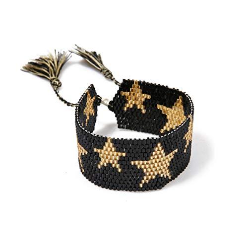 Beaded Bracelets Bangles for Women Boho Star Pattern Seed Beads Bracelet Cuff Bracelet Friendship Weave Tassel Jewelry (Black)]()
