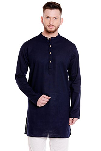 In-Sattva Men's Indian Classic Pure Cotton Kurta Tunic With Mandarin Collar; Navy Blue; LG by In-Sattva