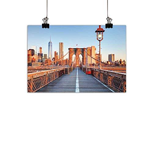 (duommhome City Light Luxury American Oil paintingNew York Skyline Closeup Brooklyn Bridge in Manhattan Over Hudson River Home and everythingOrange Pale Blue Grey 24