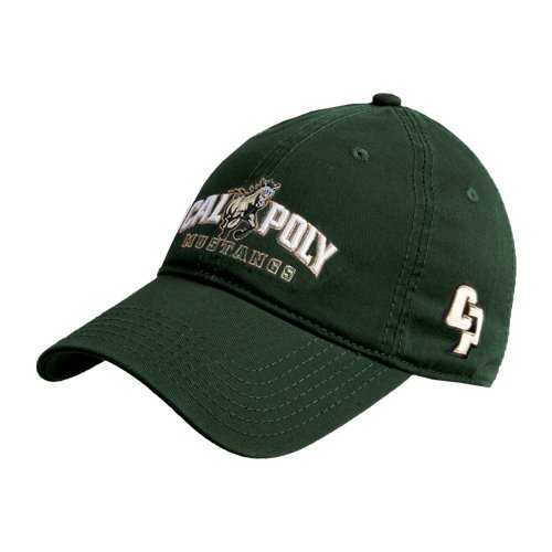 Cal Poly Dark Green Twill Unstructured Low Profile Hat 'Calpoly Mustangs Primary Mark'