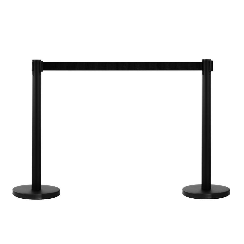Mefeir 2 PCS Queue Pole Barrier Crowd Control Barrier Security Fence Stainless Steel Ball Top Retractable Belt Stanchion Posts/Red Velvet Rope VIP (Black)