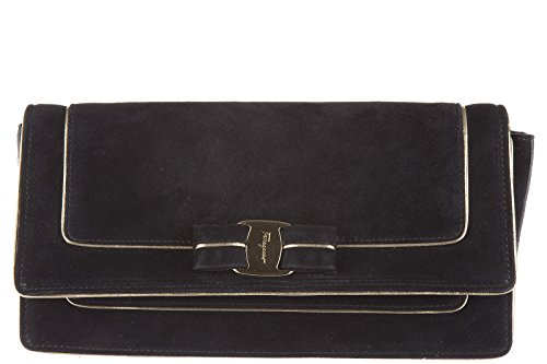 Salvatore Ferragamo pochette a mano donna camoscio nuova originale camy nero