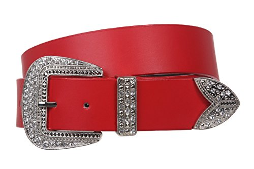 Western Rhinestone Buckle Plain Leather Belt Size: M/L - 35 Color: (Plain Buckle)