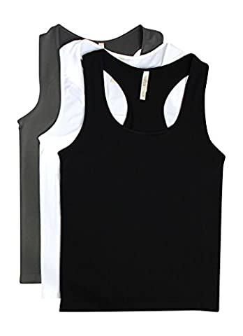 3 Pack-Black, Charcoal & White Plus Size Racerback Seamless Camisole Tank Top (Shelf Bra Tank Plus)