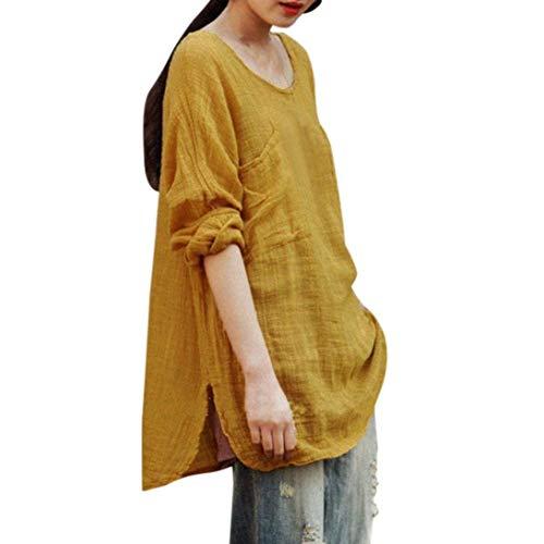 Allentato Lunga Colore Puro Magliette Collo Lino Fashion Camicia Eleganti Donna Camicetta Vintage Tops Rotondo Tasche Shirts Primaverile Gelb Con Grazioso Autunno Manica Baggy txfawCHwq