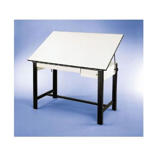 Adjustable Steel Drafting Table with Melamine Top - DesignMaster (72 in. L x 37.5 in. W x 37 in. H - Black) by Alvin and Company