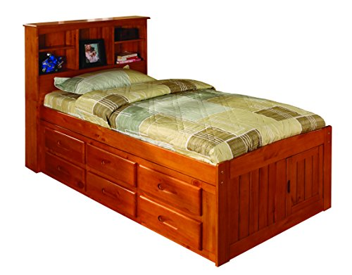 Discovery World Furniture Bookcase Captains Bed with 6 Drawer Storage, Twin, ()