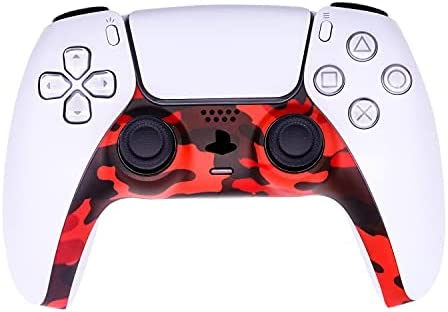[Updated Version] Decorative Strip for PS5 Dualsense Controller, Ackmioxy DIY PS5 Controller Replacement Shell Color Replacement Decoration Accessories for PS5 Controller Panel (Camouflage Red)