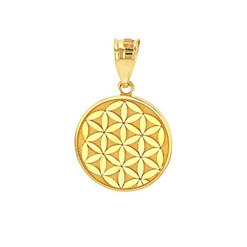 Certified 10k Yellow Gold Flower Of Life Sacred Geometry Charm Pendant (1.0