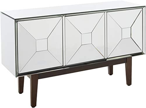 Howard Elliott Mirrored Cabinet with 3 Pyramid Shaped Doors, Metallic
