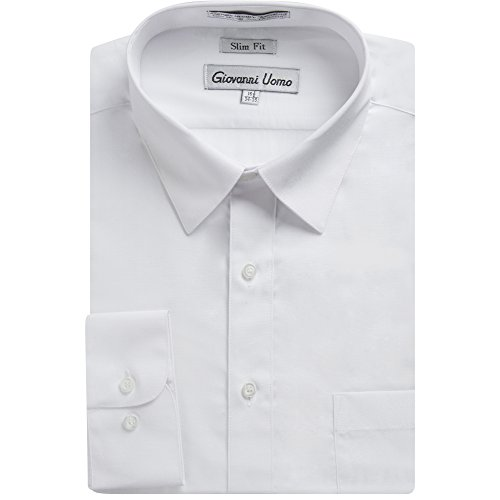 Gentlemens Collection Men's Slim Fit Long Sleeve Solid Dress Shirt - White - 16.5 4-5