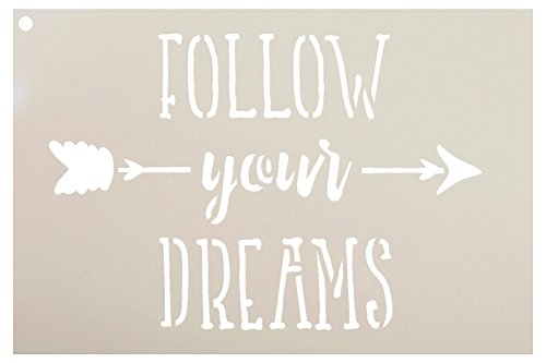 Follow Your Dreams Stencil for Painting Wood by StudioR12 | Reusable Mylar Template | Easy to Paint Perfect Lettering on Signs - Fabric - Metal - Tin | Crafting DIY (Words Lettering)