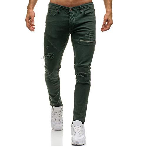 Pantalons En Élégant Conqueror Denim Occasionnels Trous Vert Homme Skinny Longs Pour Jean B1Htxqwt0