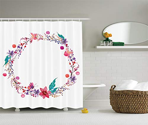 Ambesonne Watercolor Flower Decor Collection, Flower Wreath with Wildflowers Leaves and Butterfly Image Print, Polyester Fabric Bathroom Shower Curtain Set 75 Inches Long, White Pink Blue Red