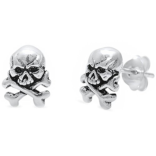 Solid Cross Bone Skull .925 Sterling Silver Earrings