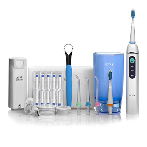 Jetpik JP200 Ultra Rechargeable Electric Dental Flosser with Pulsating Water Jet Power & Sonic Toothbrush Plus an UV Sanitizer
