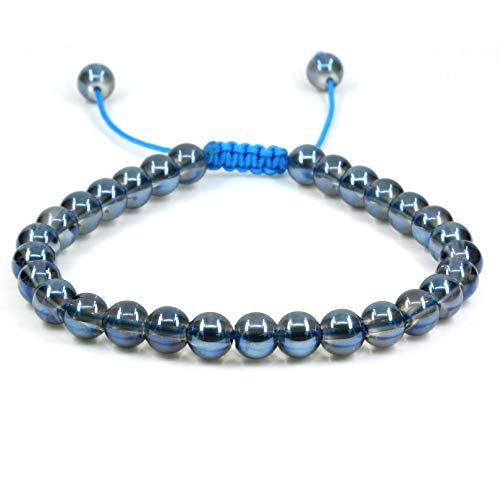 Natural Aqua Blue Clear Quartz Gemstone 6mm Round Beads Adjustable Bracelet 7