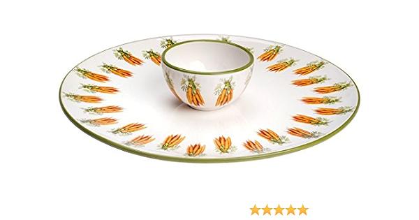 Italian Ceramic Carrot Bunch PlateTray-orange and green
