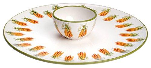 Boston International Eddie and Carrots Ceramic Crudite Server and Bowl Set, (Crudite Set)