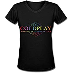 Lianfa Coldplay A Head Full Of Dreams Tour 2016 Fan Logo Black V Neck T Shirt For Women-Medium