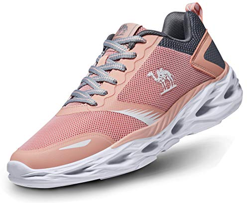 CAMEL Women's Sneakers Athletic Running Shoes Fashion Breathable Lightweight Mesh Sports Tennis Shoes Pink