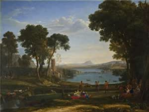 'Claude - Landscape with the Marriage of Isaac and Rebecca,1648' oil painting, 16x21 inch / 41x54 cm ,printed on Linen Canvas ,this Reproductions Art Decorative Canvas Prints is perfectly suitalbe for Foyer artwork and Home decoration and Gifts