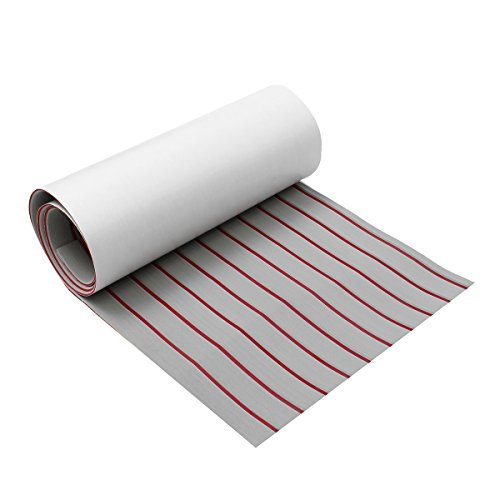 - Annibus Upgrade Self Adhesive EVA Foam Synthetic Teak Deck Boat Sheet Grey+Red Line 5mm Thickness - 600x2400x5mm