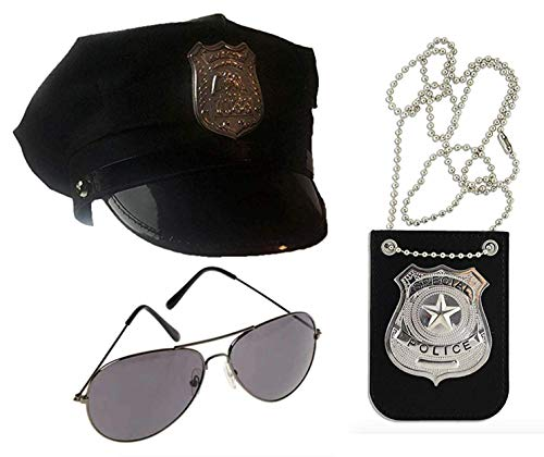 Police Costume Accessory Set- Hat, Glasses, and Badge]()