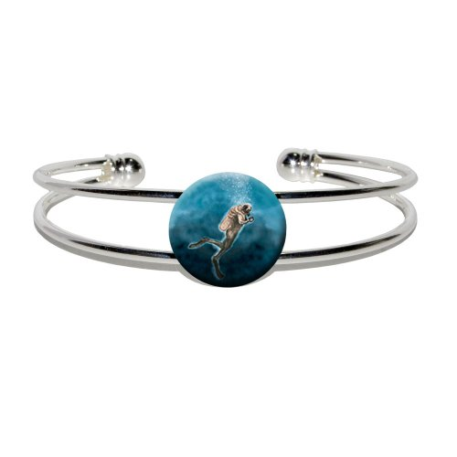 [Graphics and More Scuba Diver Blue - Ocean Diving - Novelty Silver Plated Metal Cuff Bangle] (Scuba Diver Costumes)