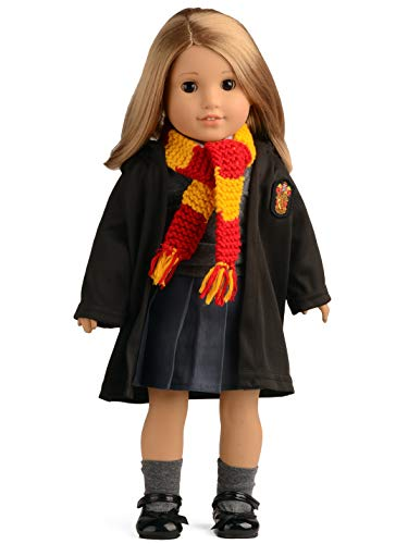 sweet dolly Hermione Clothes Shoes Magic Outfits Witchcraft School Uniform Doll Clothes for 18 inch American Girl Doll (Clothes and Shoes) (Clothes, Shoes, Scarf) ()