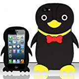 For iPhone 5 (AT&T/Sprint/Verizon/Cricket) Penguin 3D Design Silicon Case - Black SCPNG