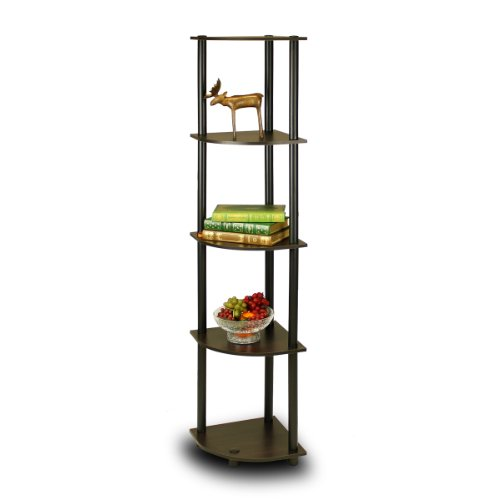 Furinno 99811EX/BK TurnNTube 5 Tier Corner Shelf Espresso/Black