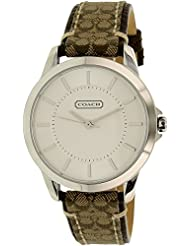Coach Womens 14501525 Classic Signature Fabric Leather Strap Watch