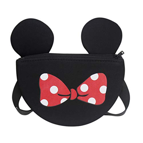 Kids Toddler Purse Cute Mouse Ear Crossbody Bag Nylon Shoulder Bowknot Chest Pack