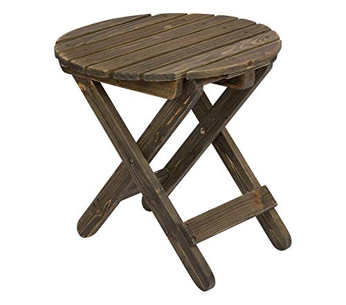 Wood & Style Patio Outdoor Garden Premium Rustic Round Folding Table, Barnwood