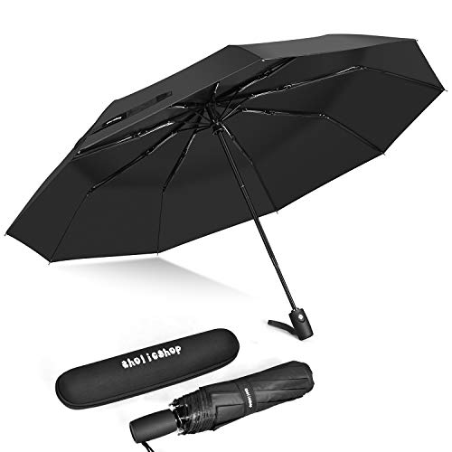Windproof Umbrella, Auto Open & Close Travel Folding Umbrella with Teflon Coating, Reinforced 9 Ribs for One Handed Operation, Portable Fast Drying Umbrella, Slip-Proof Handle for Easy Carry, Black ()