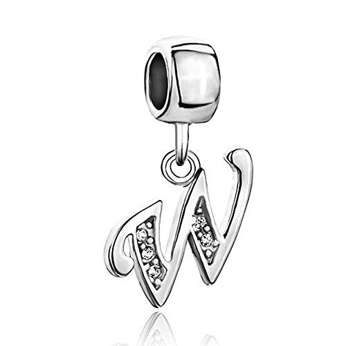 Pendant Charm Dangling (Aeneas Jewelry Letter W Charms Dangling Letters Clip on Pendant Charm for Bracelet or Necklace)