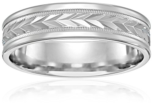 10k White Gold 6mm Comfort-Fit Wedding Band with Wheat Fill Design In Center and High Polish Round Edges, Size 10