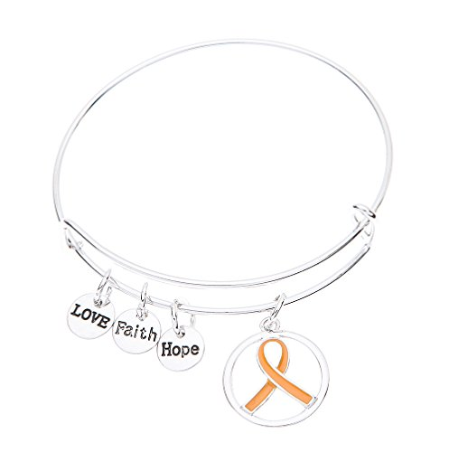 Orange Ribbon Bracelet, Leukemia Awareness, MS Awareness, Self Injury, Kidney Cancer, ADHD, Awareness (Leukemia Orange Ribbon)
