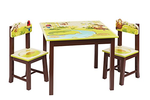 Guidecraft Jungle Party Kids 3 Piece Rectangle Table and Chair Set 33lbs, 1 UNIT PACK