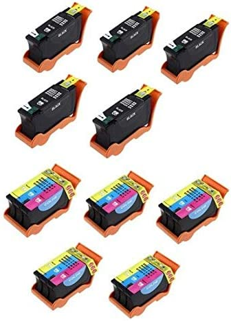 SuppliesMAX Compatible Replacement for Dell P513//P713//V313//V515//V715W Inkjet Combo Pack Series 21 5-Black//5-Color T093N/_5PK//T094N/_5PKMP