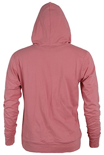 MAJECLO Mens Lightweight Cotton Pullover Long Sleeve Hoodie Sweatshirt(Large,Pink) by MAJECLO (Image #3)
