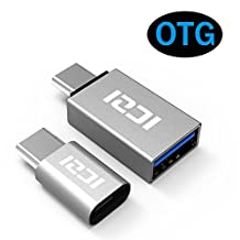 ICZI USB C to Micro USB OTG Adapter + USB 3.1 Type C to USB 3.0 Adapter, Aluminum Body for Samsung Galaxy S8/S8 Plus, Nexus 5X/6P, LG G5/G6, Huawei P9/P10, HTC 10, OnePlus 3T, Chromebook Pixel and More (2 Pack, Sliver)