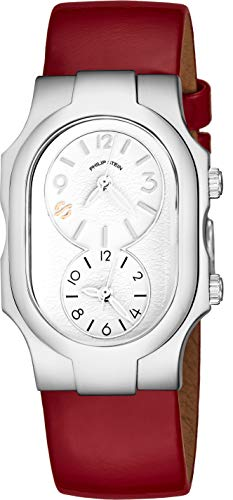 Philip Stein Signature Womens Natural Frequency Technology Watch - Classic White Face Dual Time Zone Ladies Watch - Shiny Red Leather Band Analog Quartz Stainless Steel Fashion Watches for Women