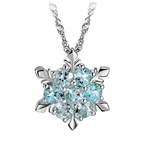 HENGSONG Women Girls Plated Silver Alloy Snowflake Necklace Pendant Charms Chain For Christmas Gift Light (Plated Snowflake Charm)