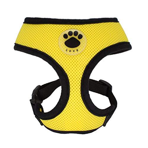 (WONDERPUP Soft Mesh Dog Harness No Pull Walking Comfort Padded Vest Harnesses Adjustable (M, Yellow))
