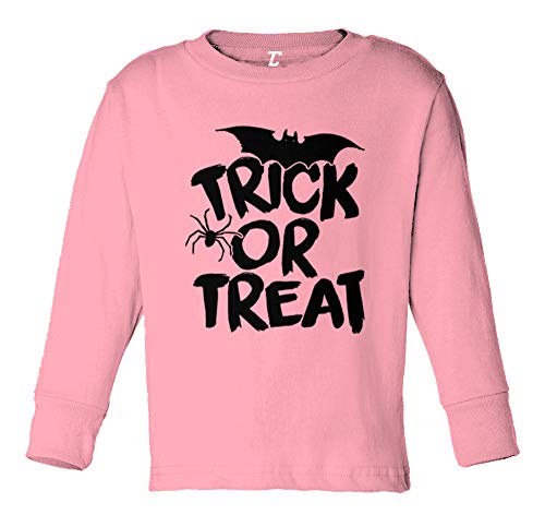 Trick Or Treat - Halloween Spooky Scary Long Sleeve Toddler Cotton Jersey Shirt (Light Pink, 3T) ()